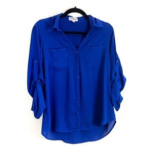 Express Royal Blue Portofino Button Up Blouse